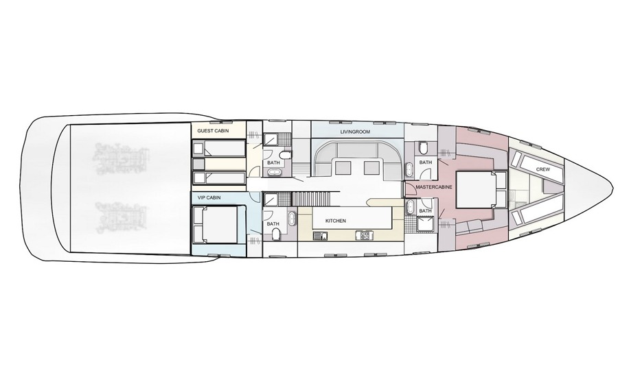 yachtlayout mangusta 72 amore